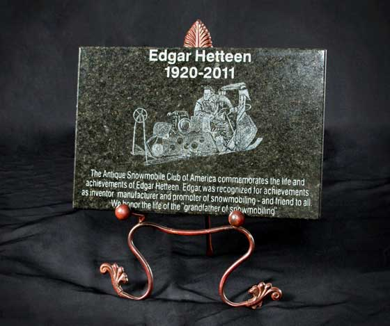 Edgar Hetteen Tribute Plaque