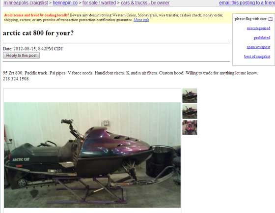 Craigslist for 8-28-12 Arctic Cat 800 with a sweet riser system