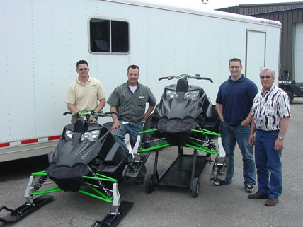 Brian (second from left) with a prototype of the 2008 Sno Pro
