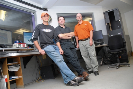 Glen Martin (middle) with fellow Cat emissions engineers Mike Schley (left, wearing the hat) and Del Nelson