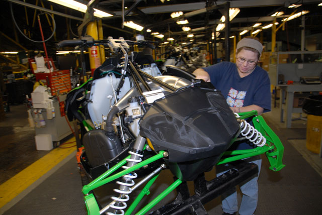Arctic Cat Sno Pro 500 on the production line