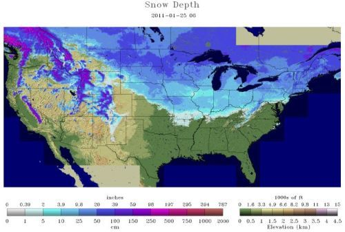 Snow depth 1-25-11