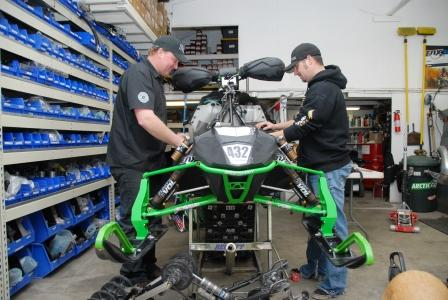 After-hours work on Greening's race sled