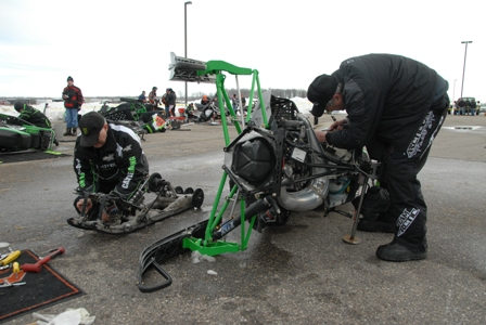 Ebert's race sled during the maintenance session