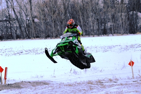 Arctic Cat's Dan Ebert in the lead at the I-500