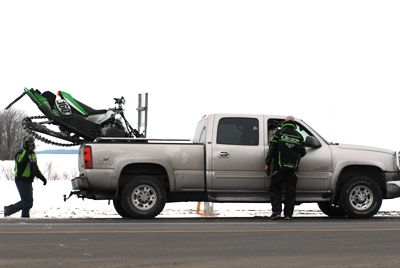 Davis's sled loaded at the first fuel stop