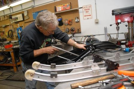 Prepping six ski assemblies takes more than one complete day