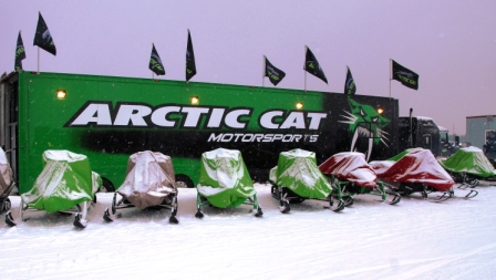 The 2012 Arctic Cat snowmobiles...under wraps