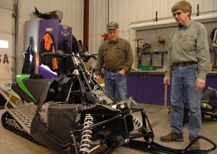 Discussing some prototype clutch venting with Larry Coltom in Feb. 2011