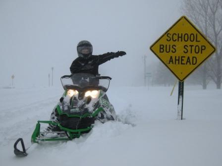 School Sled Stop Ahead