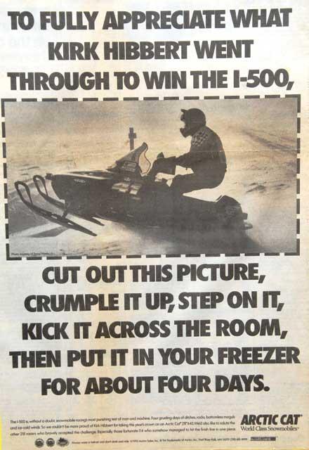 1993 Arctic Cat Kirk Hibbert I-500 Race Win Ad