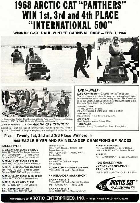 1968 Arctic Cat I-500 win ad