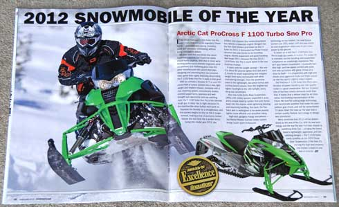 2012 Arctic Cat F1100 Turbo Sno Pro is the Sled of the Year