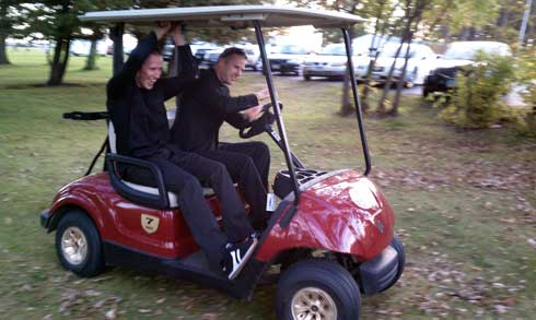 Tucker Hibbert thrashes on a golf cart