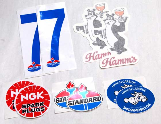 Vintage snowmobile decals from the Winnipeg I-500