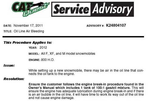 Service Advisory for 2012 Arctic Cat F, XF and M800 snowmobiles