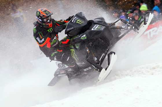 Tucker Hibbert at Spirit Mountain Snocross Opener, phot by John Hanson