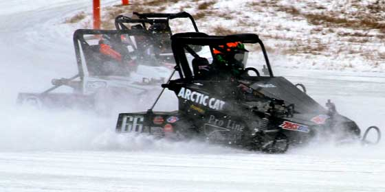 Andy Moyle on the Arctic Cat Outlaw 600 oval racer