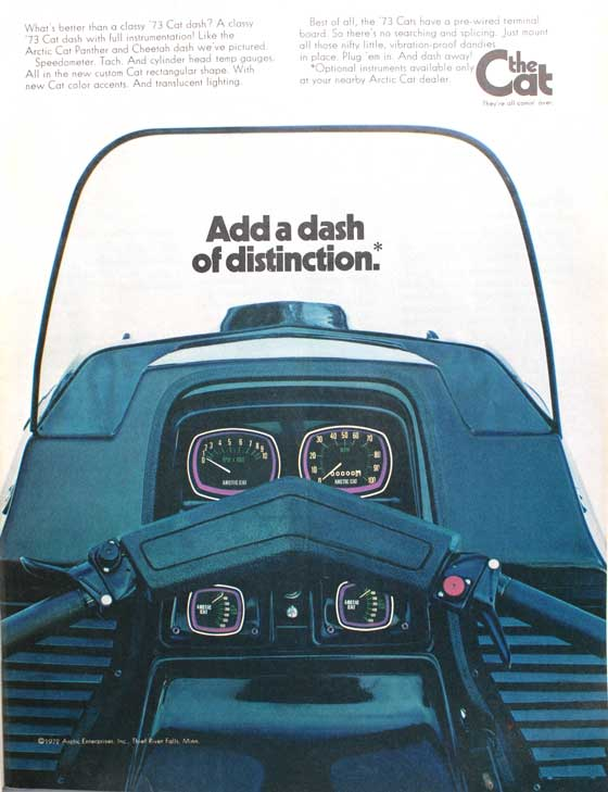 1973 Arctic Cat ad for a snowmobile dash