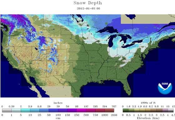 Snow depth 1-3-12