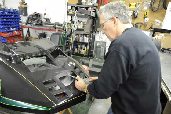 Nelson working on the new El Tigre hood