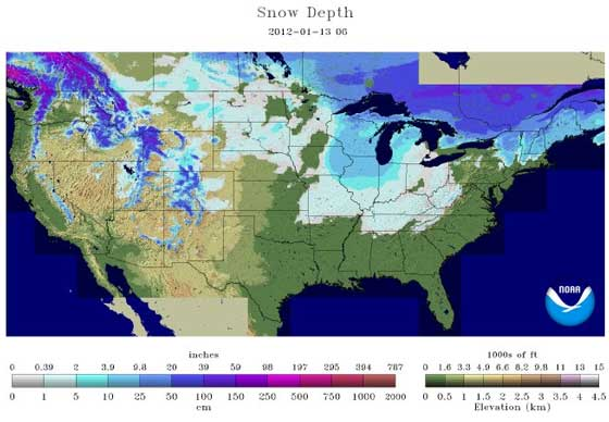 Snow depth 1-13-12
