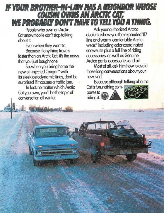 Arcticinsider - Arctic Cat snowmobile print ad 1987