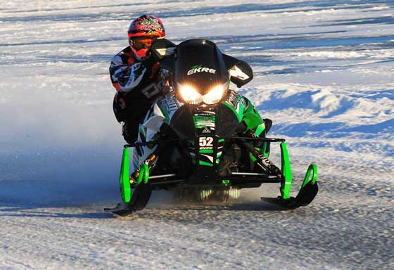 Team Arctic Cat's D.J. Ekre won Pro Open at Detroit Lakes, photo by sledRacer.com