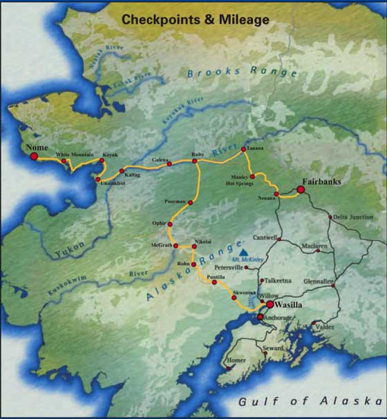 2012 Iron Dog snowmobile race route