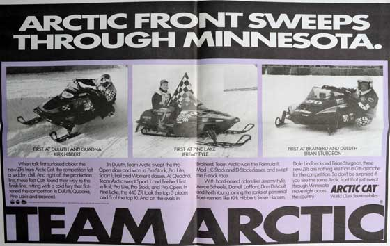 Team Arctic Race Win advertisement for the '93 ZR