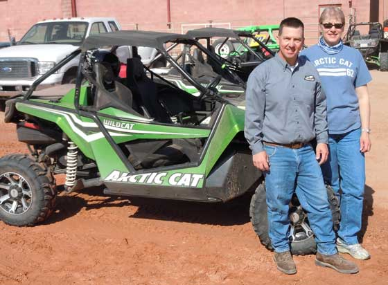 Tom and Renae Rowland and their Arctic Cat Wildcat in Moab