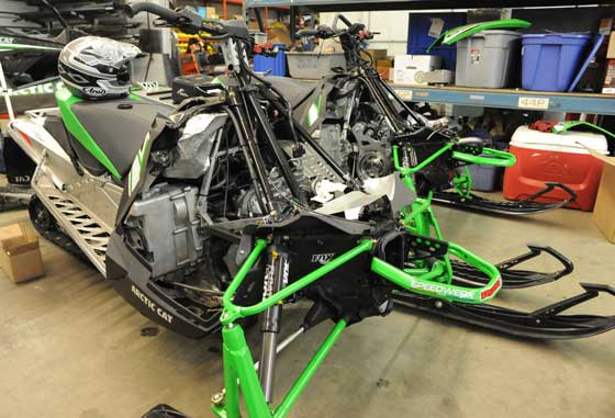 Inside the Speedwerx snowmobile, ATV and car performance shop