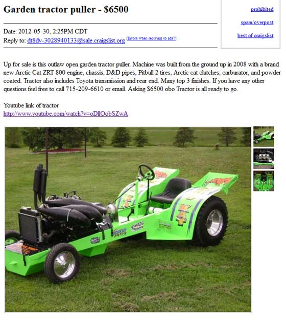 Craigslist for 6-7-12 Arctic Cat Krazy Kat