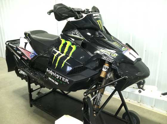 Tucker Hibbert's 2010 & 2011 Arctic Cat Sno Pro race sled for sale