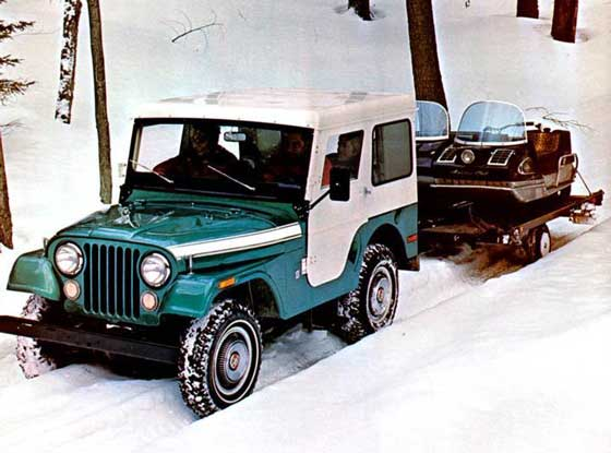 Jeep and Arctic Cat Panther snowmobiles