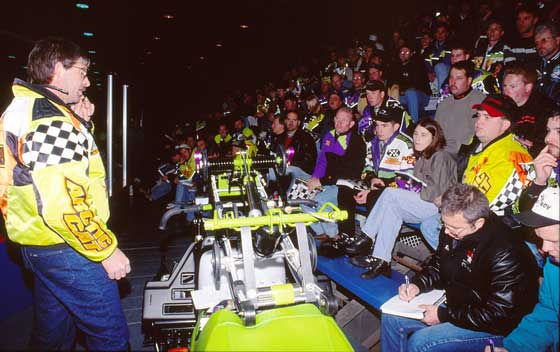 Kirk Hibbert singing Viva Las Vegas at the 1997 Arctic Cat Race School