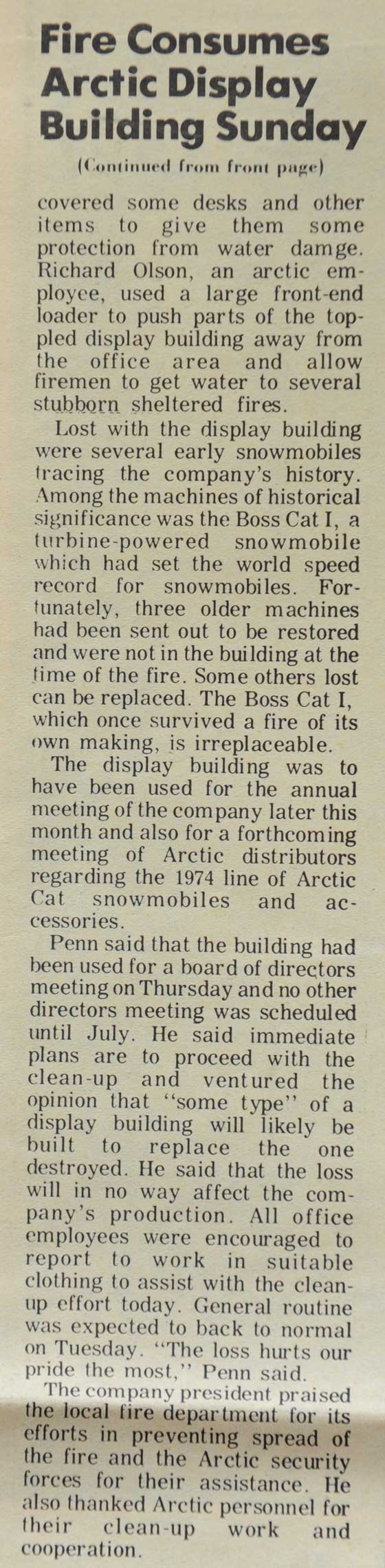 Arctic Cat Display Building Fire in 1973