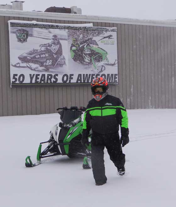 Arctic Cat's Roger Skime makes his first tracks of the season