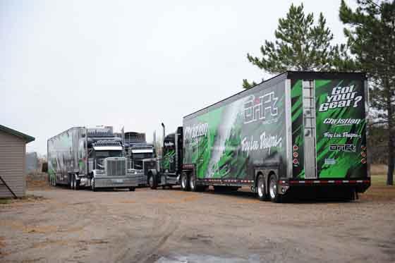 Christian Bros. Racing trucks in Fertile