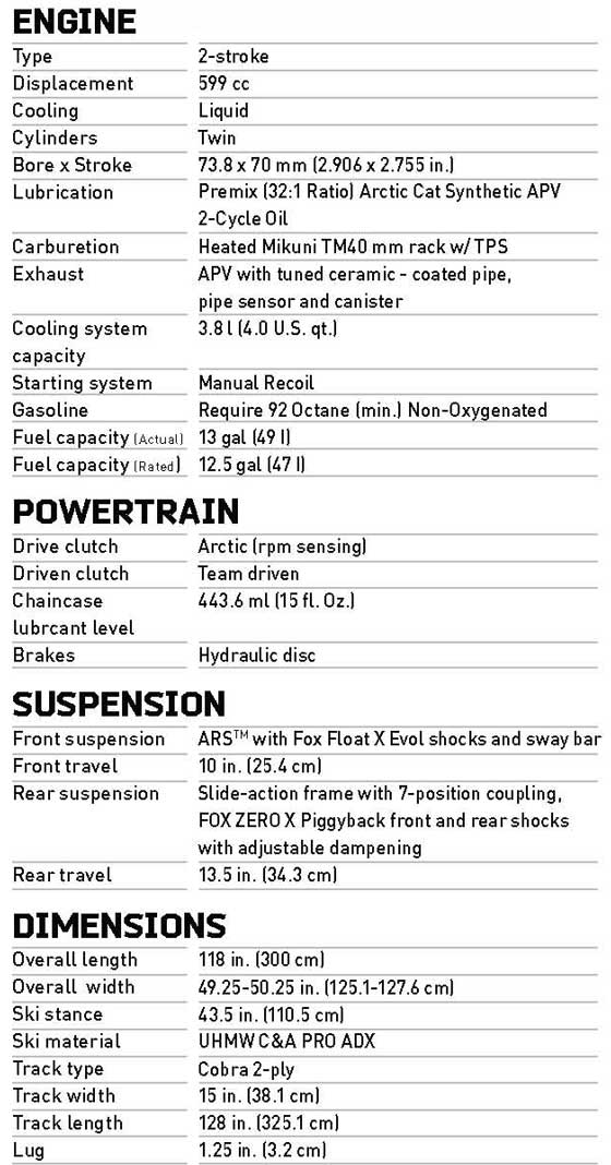 2013 Arctic Cat Sno Pro 600 XC version specifications