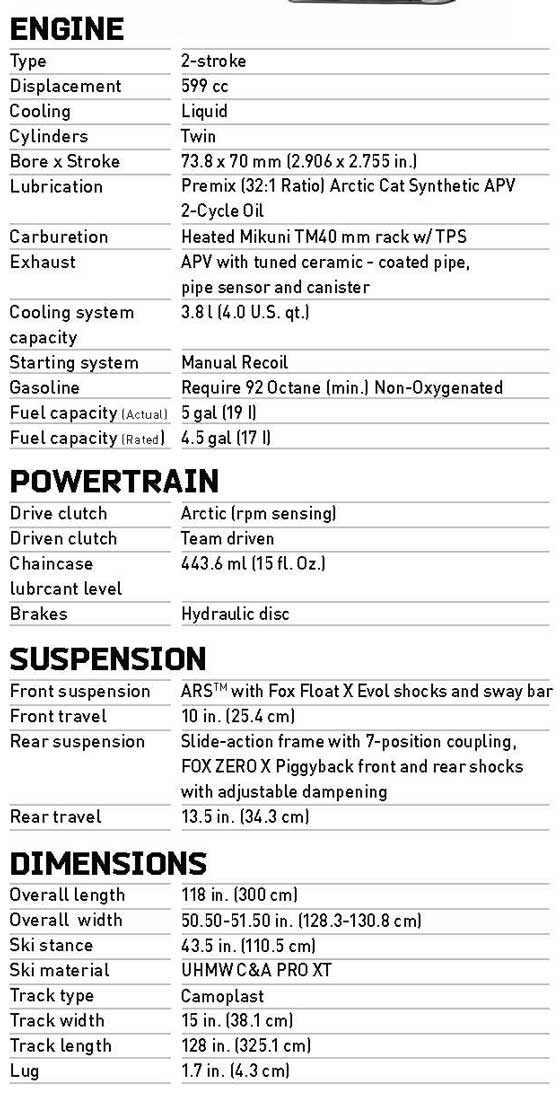 2013 Arctic Cat Sno Pro 600 SX version specifications