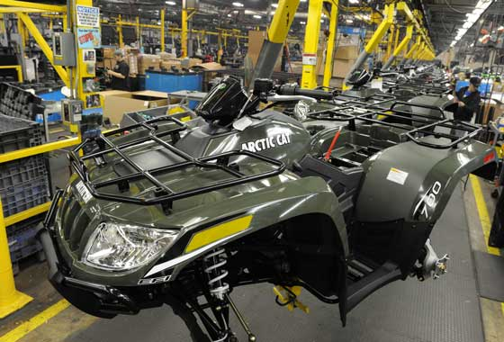Arctic Cat ATVs on the production line