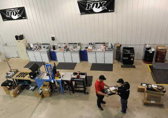 Inside the FOX Shox Service Center in Baxter, Minn.