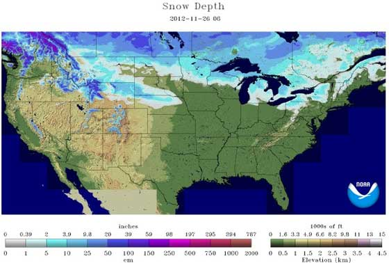 Snow depth 11-26-12