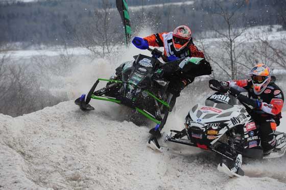 Levi LaVallee derbies into Garth Kaufman, photo by ArcticInsider.com