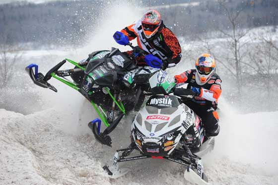 Levi LaVallee piles into Garth Kaufman, photo by ArcticInsider.com