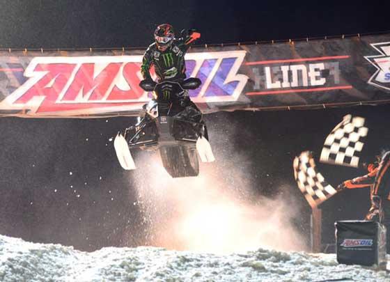 Arctic Cat/Monster gangnam style racer Tucker Hibbert, photo by SledRacer.com