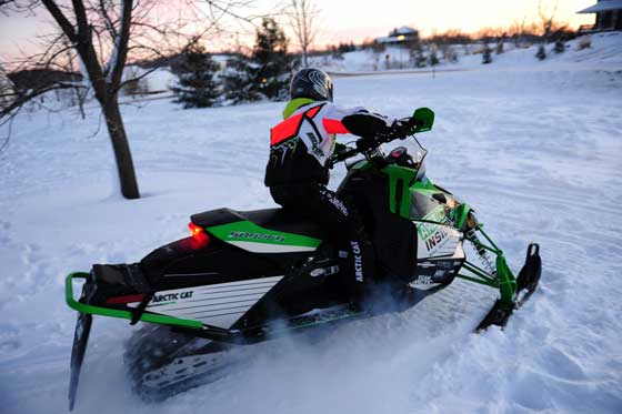 Riding the Arctic Cat Sno Pro 500 after the big snow storm