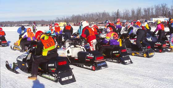Starting line at Pine Lake cross-country snowmobile race