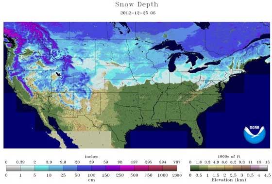 snow depth 12-25-12